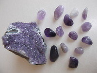 Crystals. Amethyst grouping