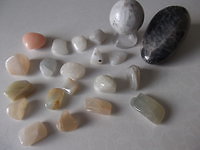 Crystals. Moonstone grouping